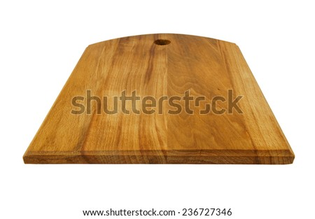 Dark brown cutting board isolated on white background - stock photo