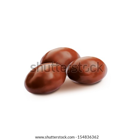 Dark brown dragee, in chocolate covered. - stock photo