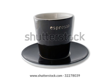 Dark brown espresso cup and plate isolated on a white background. - stock photo