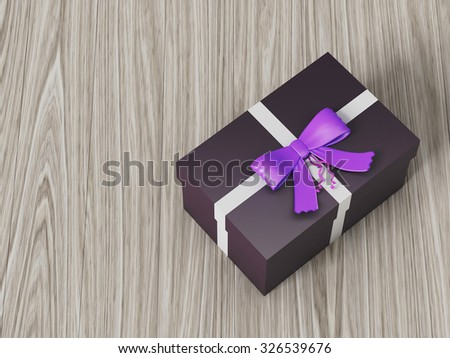 dark brown gift box with purple ribbon bow, on wooden background
