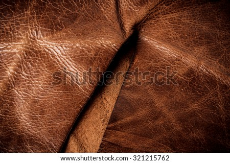 Dark Brown Leather, Genuine. Concept and Idea of Fine Leather Crafting, Handcrafts, Handmade, Handcrafted, Leather Industry. Background Textured and Wallpaper. Rustic Style. - stock photo