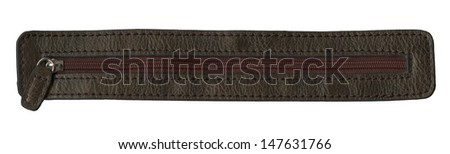 Dark brown leather texture and zipper - stock photo