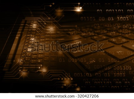 Dark brown Light Abstract Technology background for computer graphic website internet business. circuit. illustration. infographics. motion move blur.neon.high tech keyboard with binary number - stock photo