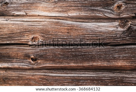 Dark brown old grungy wooden wall, closeup background photo texture - stock photo