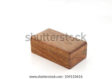 Dark brown wood box - stock photo