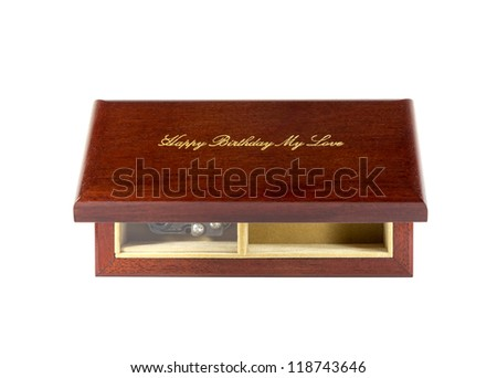 Dark brown wood box isolated on white background. - stock photo