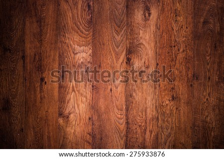Dark brown wooden floor, top view - stock photo