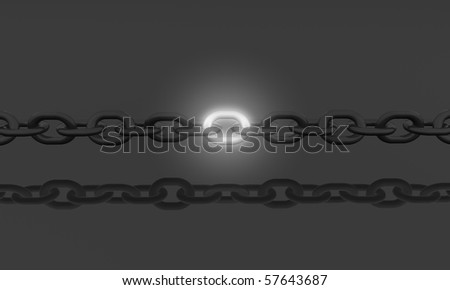 dark chain with bright element - stock photo