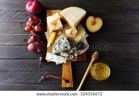 dark cheese composition, top view - stock photo
