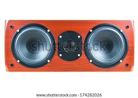 Dark cherry center loudspeaker isolated over white background. - stock photo