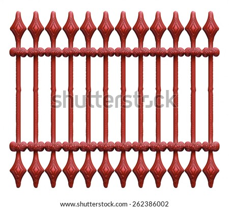 Dark cherry forged decorative lattice with flowers isolated on white background - stock photo