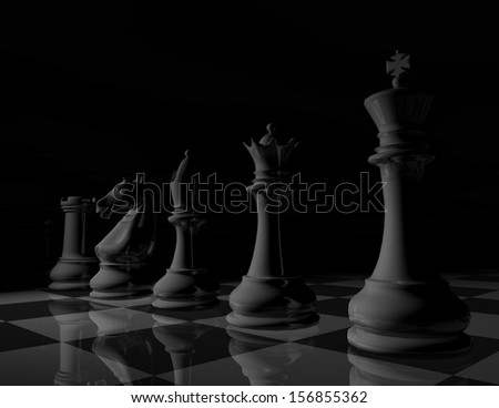 Dark chess game illustration in black and white with chessboard - stock photo