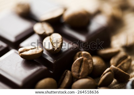 dark chocolate and coffee beans - stock photo
