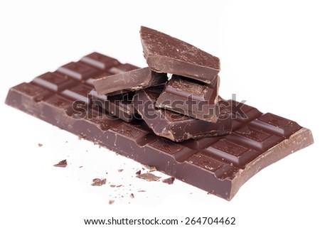 Dark chocolate bar isolated on white background