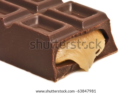 Dark chocolate bar with sweet creamy filling - stock photo