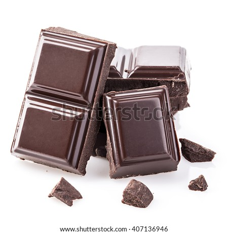 Dark chocolate bars isolated on white background. - stock photo