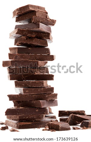 Dark chocolate bars stack with crumbs