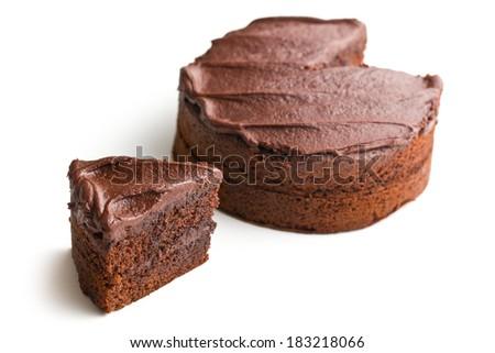 dark chocolate cake on white background - stock photo