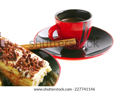 dark chocolate cake with black french coffee - stock photo
