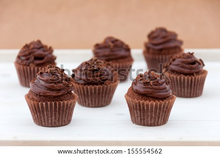 Dark chocolate cupcakes  - stock photo