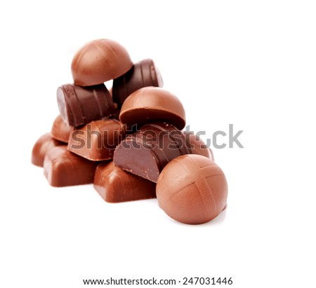 Dark chocolate on a white background - stock photo