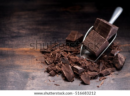 Dark chocolate on rustic background and space for text