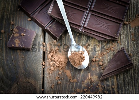 dark chocolate over wooden background - stock photo