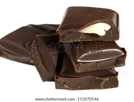 Dark Chocolate Pieces with Mint Filling - stock photo