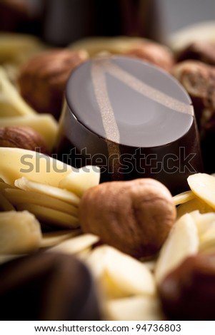 Dark Chocolate pralines, decorated with the ingredients of the praliné filling. - stock photo