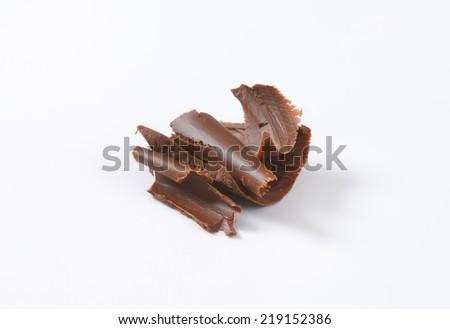 dark chocolate shavings - stock photo
