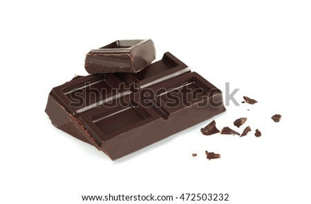 Dark chocolate tiles isolated on white