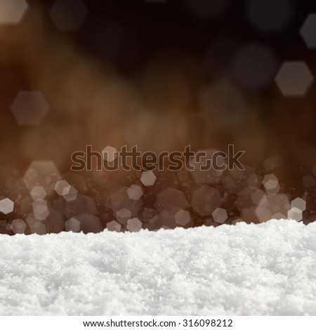 Dark Christmas background with various bokeh and snow drifts - stock photo