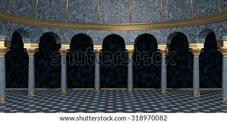 Dark Classic Columns Interior. 3d rendering - stock photo
