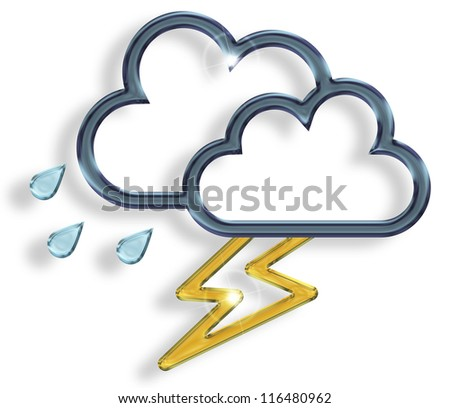 dark cloud with raindrops and lightning on white background - stock photo