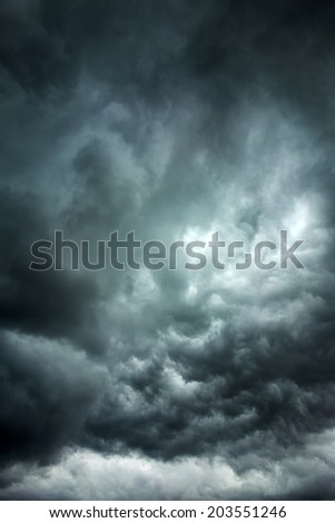 Dark clouds across the sky before heavy rain  - stock photo