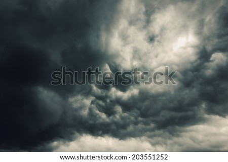 Dark clouds across the sky before heavy rain