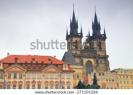 Dark clouds cover the sky above the Gothic building of the Church of Our Lady before Tyn, Prague Old Town, Czech Republic - stock photo