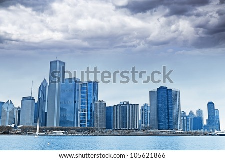 Dark Clouds on Finance District in Chicago - stock photo