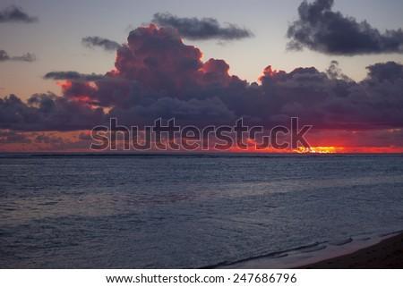 Dark Cloudscape over Sea at Dusk - Rarotonga, Cook Islands, Polynesia - stock photo