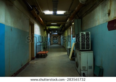 Dark corridor, soviet style, mysterious and dangerous place - stock photo