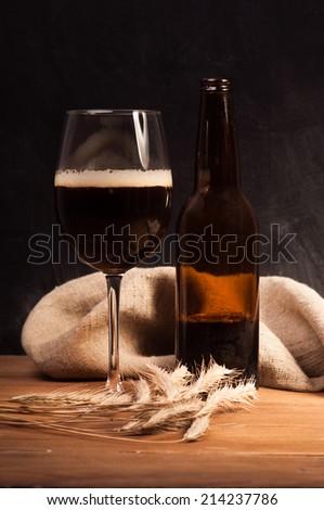 Dark craft beer id the glass - stock photo