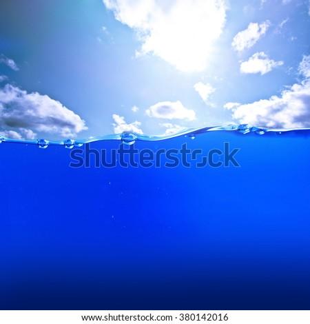 Dark deep ocean water and sky. Nature. - stock photo