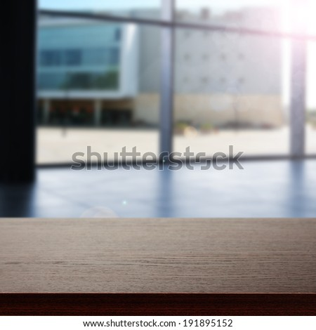 dark desk and window  - stock photo