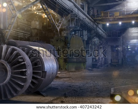 Dark destroyed factory military background  in lights - stock photo