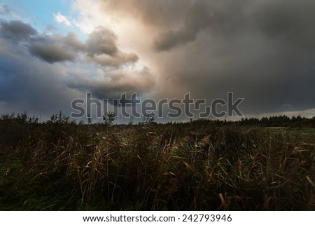 Dark dramatic rain clouds over countryside landscape. Autumn in Latvia. - stock photo