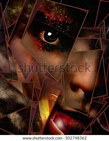 Dark Emotion Face - stock photo