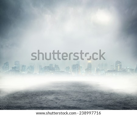 Dark empty street - stock photo