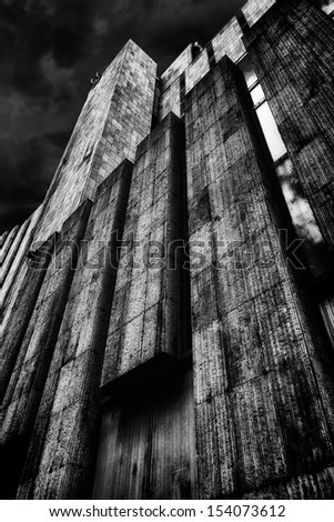 dark facade - stock photo
