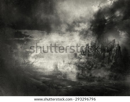 Dark fantasy landscape - stock photo
