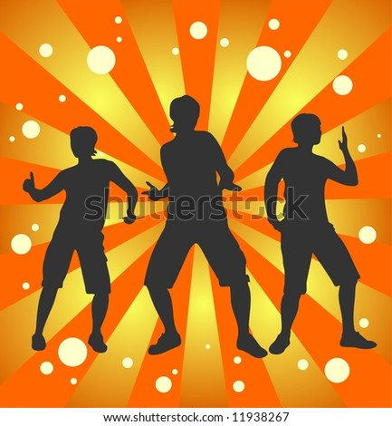 Dark female dancing silhouettes  on a striped background.